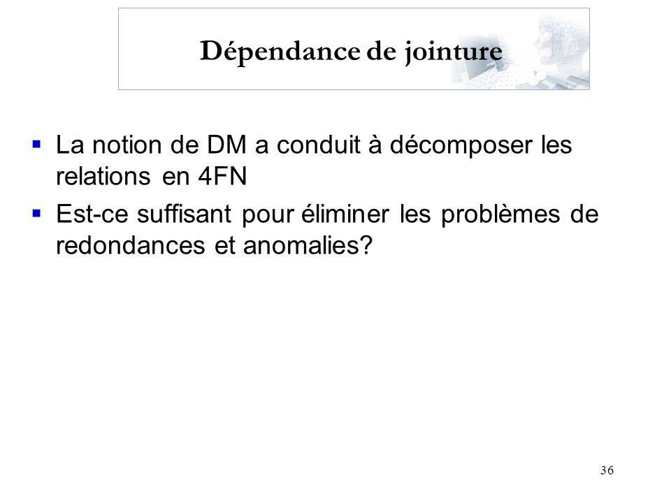 36 Dépendance de jointure La notion de DM a conduit à décomposer les relations en 4FN Est-ce suffisant pour éliminer les problèmes de redondances et a