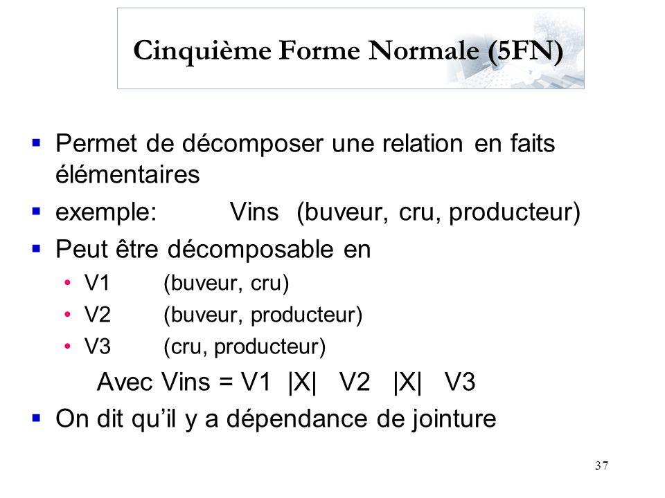 37 Cinquième Forme Normale (5FN) Permet de décomposer une relation en faits élémentaires exemple:Vins (buveur, cru, producteur) Peut être décomposable