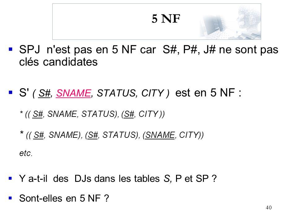 40 5 NF SPJ n'est pas en 5 NF car S#, P#, J# ne sont pas clés candidates S' ( S#, SNAME, STATUS, CITY ) est en 5 NF : * (( S#, SNAME, STATUS), (S#, CI