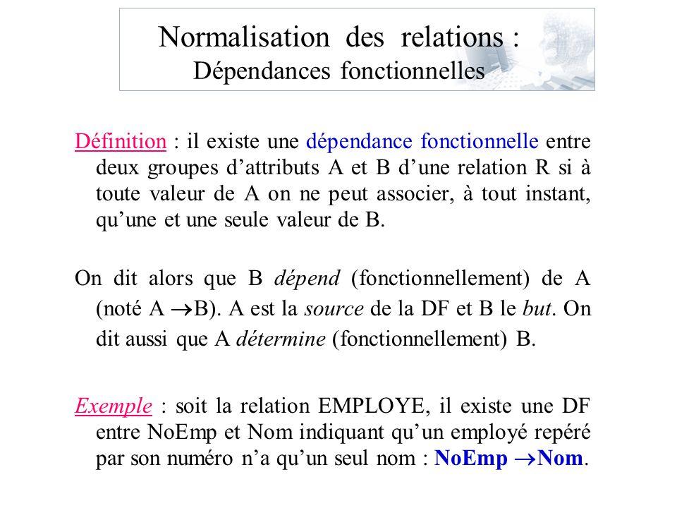 Dépendance multivaluée BCNF nest pas suffisante pour éliminer complètement les redondances Dépendance multivaluée: Etudiant (ne, cours, sport) Pas de DF DM x y On dit quil y a DM de y sur x si étant donné des valeurs de x, il y a un ensemble de valeurs de y associées à cet ensemble est indépendant des autres attributs