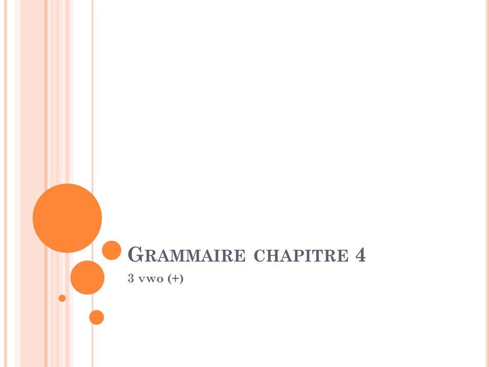 G RAMMAIRE CHAPITRE 4 3 vwo (+)