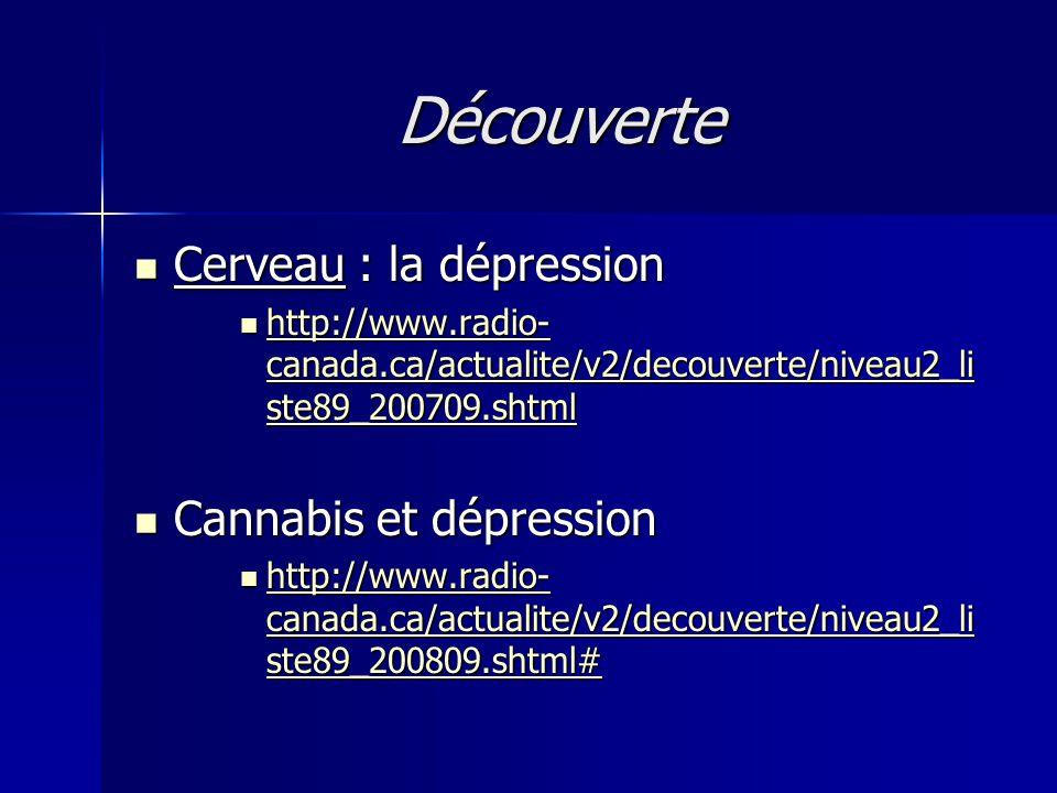 Découverte Cerveau : la dépression Cerveau : la dépression http://www.radio- canada.ca/actualite/v2/decouverte/niveau2_li ste89_200709.shtml http://ww