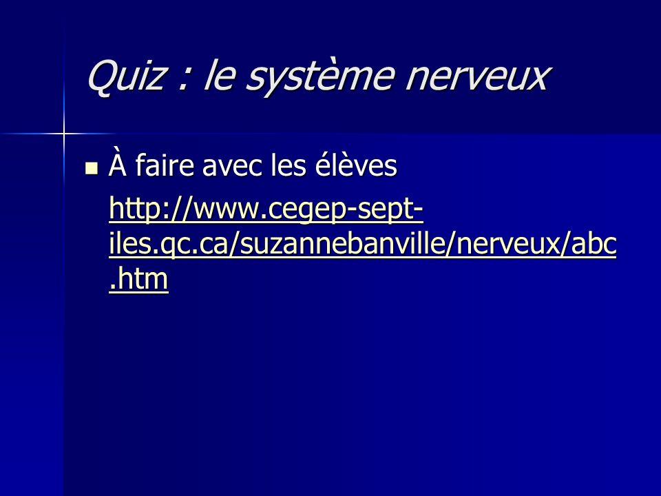 Quiz : le système nerveux À faire avec les élèves À faire avec les élèves http://www.cegep-sept- iles.qc.ca/suzannebanville/nerveux/abc.htm http://www