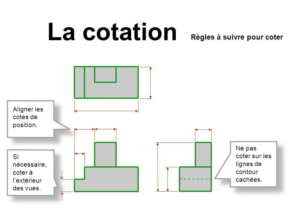 La cotation Règles à suivre pour coter Ne pas coter sur les lignes de contour cachées. Si nécessaire, coter à lextérieur des vues. Aligner les cotes d
