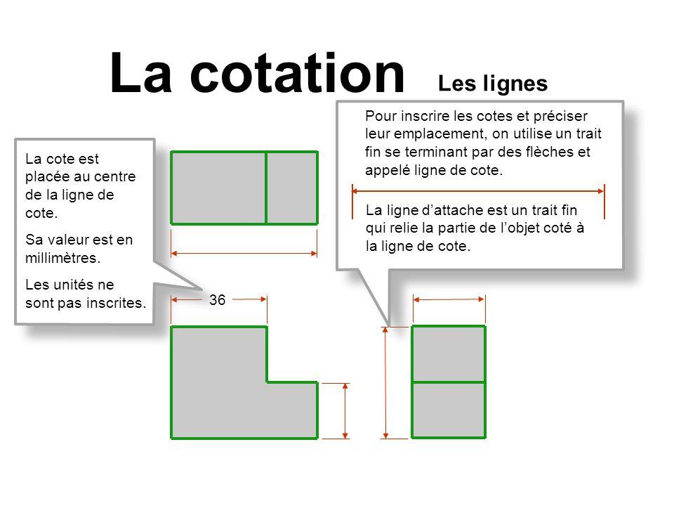 36 La cotation Pour inscrire les cotes et préciser leur emplacement, on utilise un trait fin se terminant par des flèches et appelé ligne de cote. La