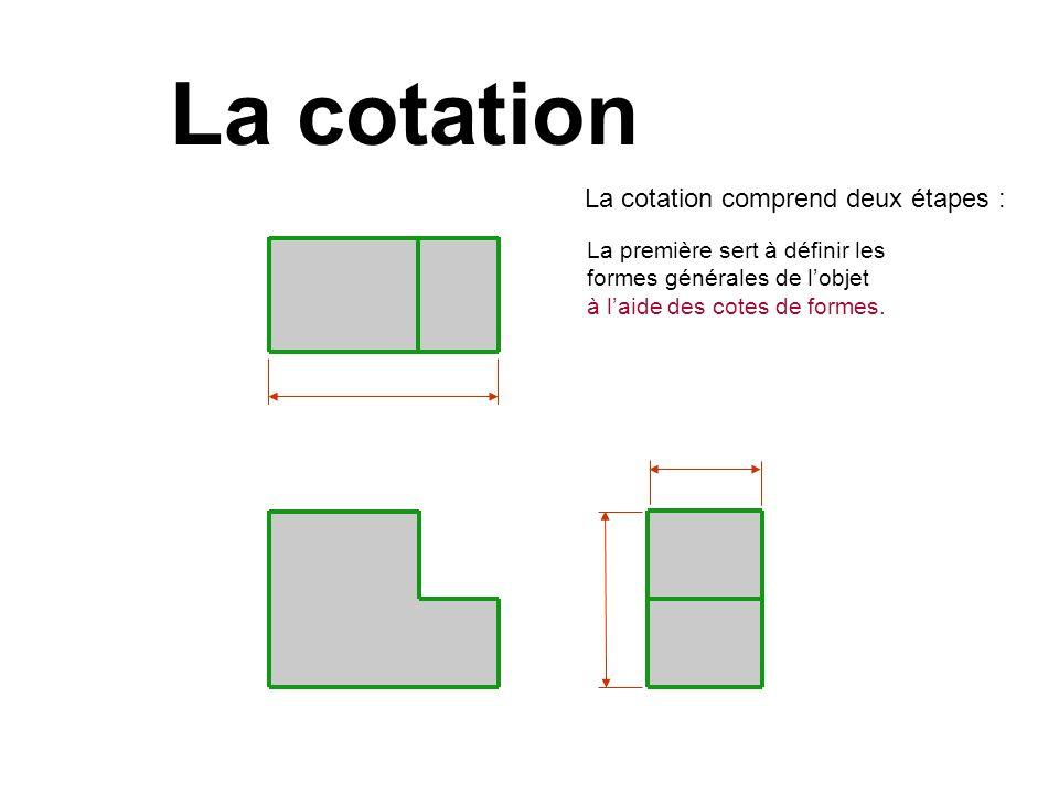 La cotation La cotation comprend deux étapes : La première sert à définir les formes générales de lobjet à laide des cotes de formes.