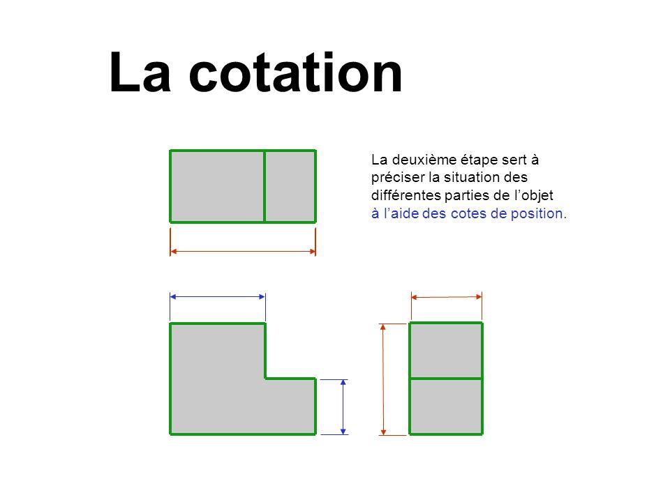 La deuxième étape sert à préciser la situation des différentes parties de lobjet à laide des cotes de position. La cotation