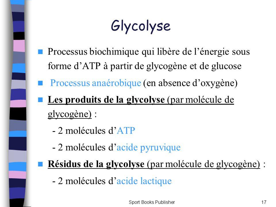 Sport Books Publisher17 Glycolyse Processus biochimique qui libère de lénergie sous forme dATP à partir de glycogène et de glucose Processus anaérobiq