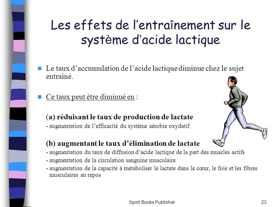 Sport Books Publisher23 Les effets de lentra î nement sur le syst è me d acide lactique Le taux daccumulation de lacide lactique diminue chez le sujet