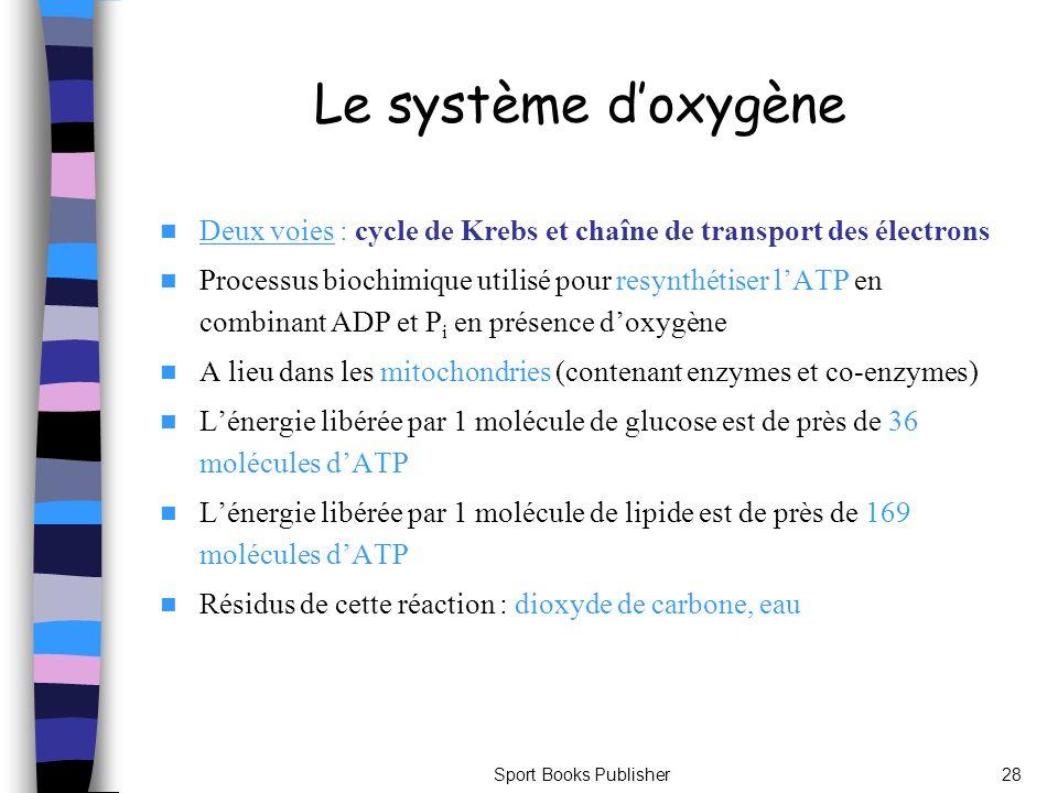 Sport Books Publisher28 Le système doxygène Deux voies : cycle de Krebs et chaîne de transport des électrons Processus biochimique utilisé pour resynt