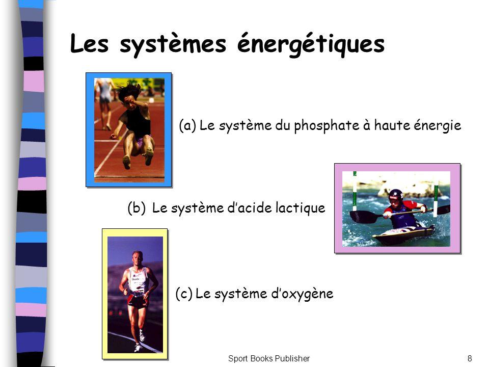 Sport Books Publisher8 Les systèmes énergétiques (a) Le système du phosphate à haute énergie (b) Le système dacide lactique (c) Le système doxygène