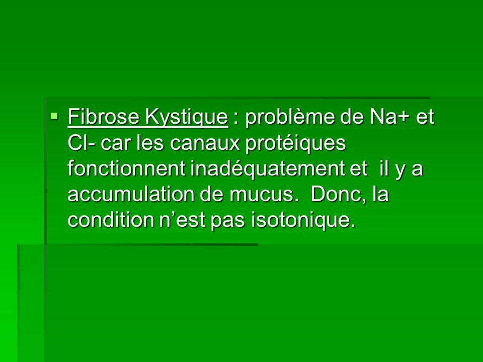 Fibrose Kystique : problème de Na+ et Cl- car les canaux protéiques fonctionnent inadéquatement et il y a accumulation de mucus. Donc, la condition ne