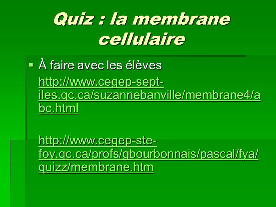 Quiz : la membrane cellulaire À faire avec les élèves À faire avec les élèves http://www.cegep-sept- iles.qc.ca/suzannebanville/membrane4/a bc.html ht