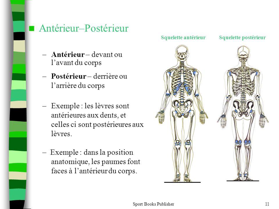 Sport Books Publisher11 Antérieur–Postérieur –Antérieur – devant ou lavant du corps Squelette antérieur – Postérieur – derrière ou larrière du corps –