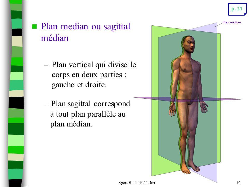 Sport Books Publisher16 Plan median ou sagittal médian –Plan vertical qui divise le corps en deux parties : gauche et droite. – Plan sagittal correspo