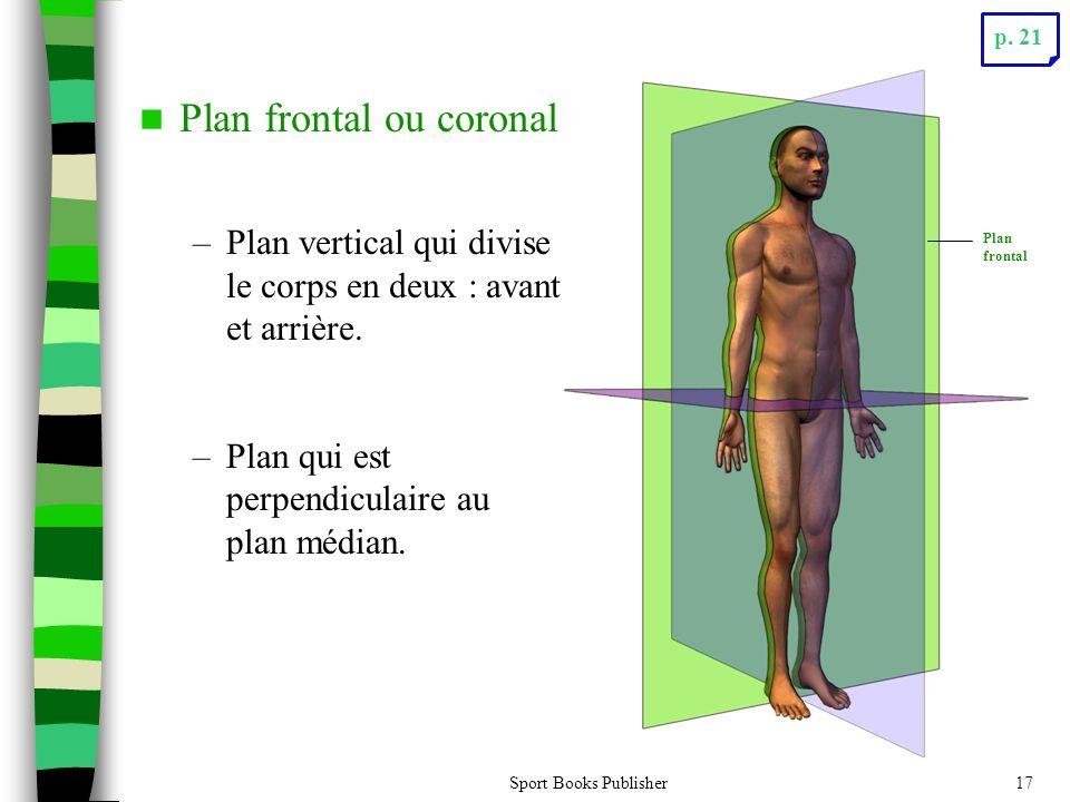 Sport Books Publisher17 Plan frontal ou coronal –Plan vertical qui divise le corps en deux : avant et arrière. – Plan qui est perpendiculaire au plan
