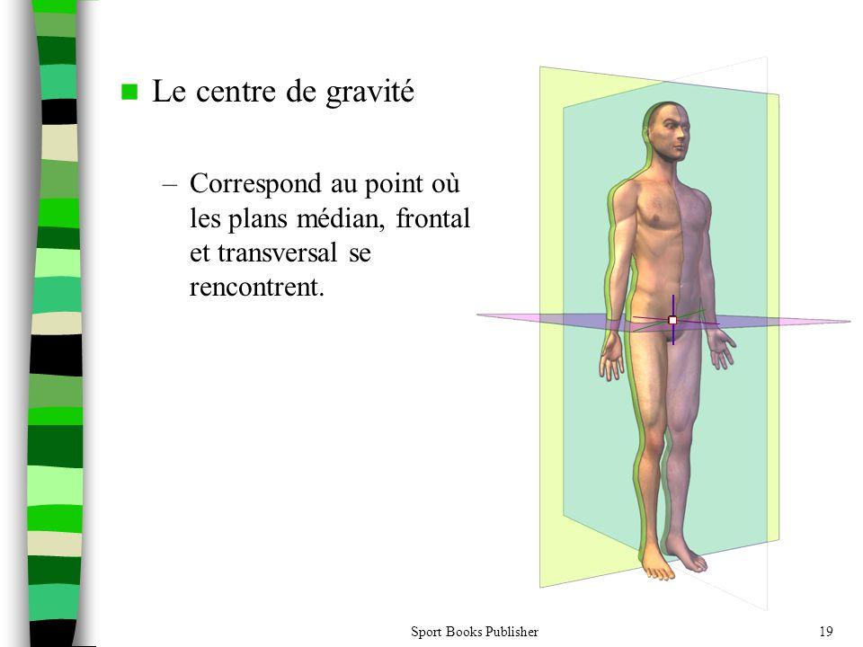 Sport Books Publisher19 Le centre de gravité –Correspond au point où les plans médian, frontal et transversal se rencontrent.