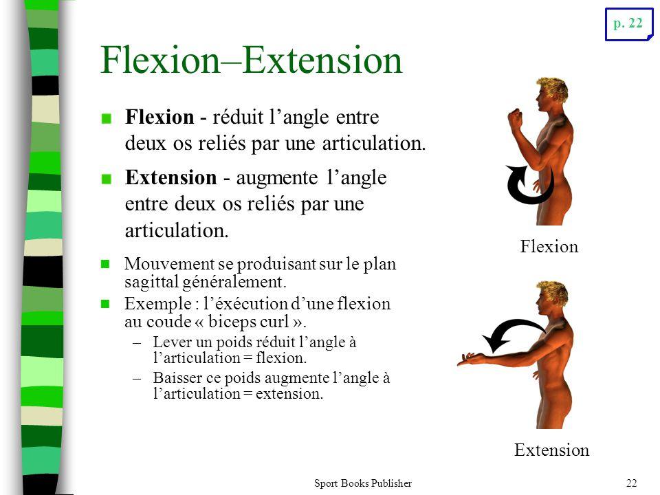 Sport Books Publisher22 Flexion–Extension Mouvement se produisant sur le plan sagittal généralement. Exemple : léxécution dune flexion au coude « bice