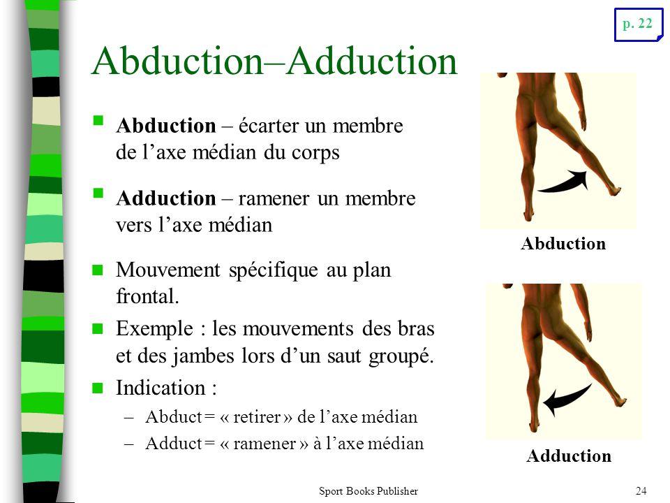 Sport Books Publisher24 Abduction–Adduction Mouvement spécifique au plan frontal. Exemple : les mouvements des bras et des jambes lors dun saut groupé