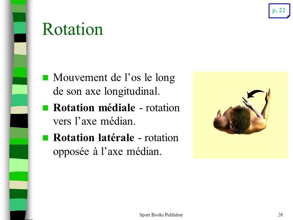 Sport Books Publisher26 Rotation Mouvement de los le long de son axe longitudinal. Rotation médiale - rotation vers laxe médian. Rotation latérale - r