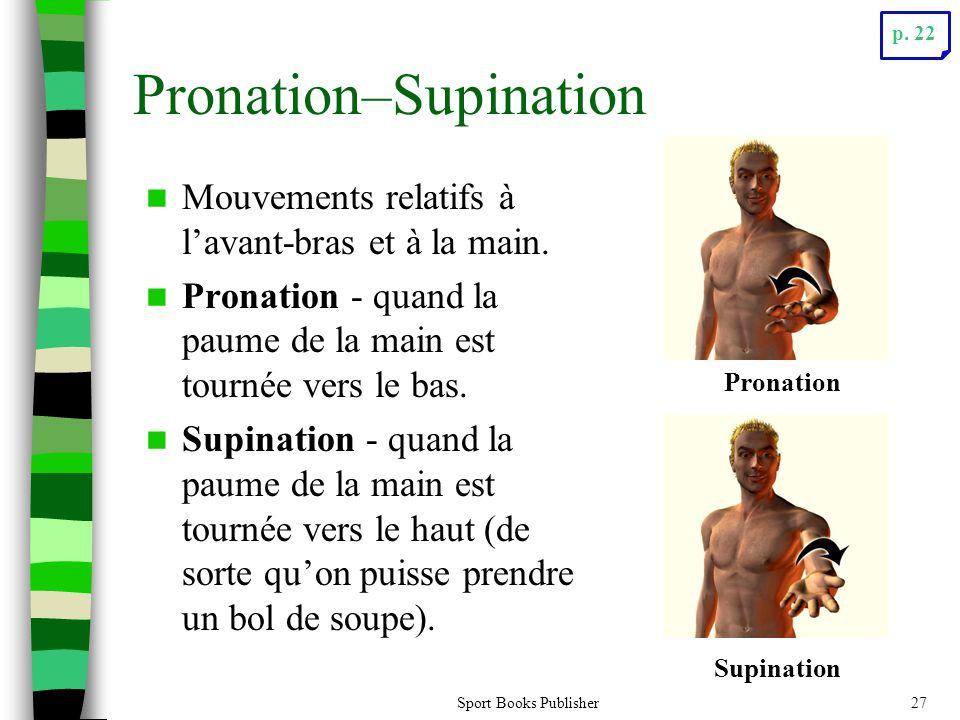 Sport Books Publisher27 Pronation–Supination Mouvements relatifs à lavant-bras et à la main. Pronation - quand la paume de la main est tournée vers le