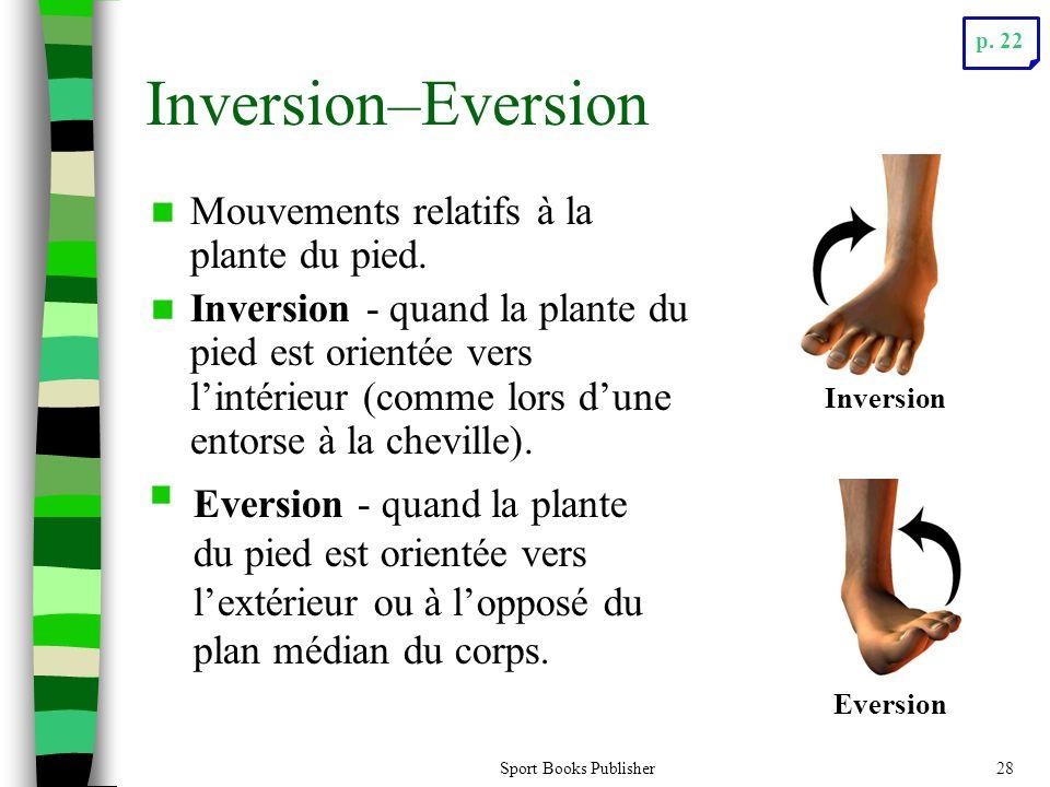 Sport Books Publisher28 Inversion–Eversion Mouvements relatifs à la plante du pied. Inversion - quand la plante du pied est orientée vers lintérieur (