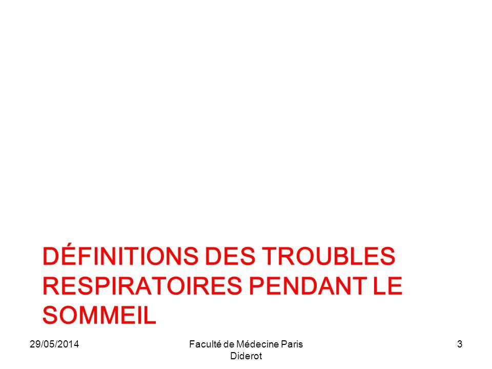 29/05/2014 Faculté de Médecine Paris Diderot 4 Syndrome dapnées du sommeil définition clinique +++ + définition polysomnographique 2-4% population générale 30-65 ans 8 hommes / 2 femmes 30-50 % dans population porteuse pathologie cardiovasculaire