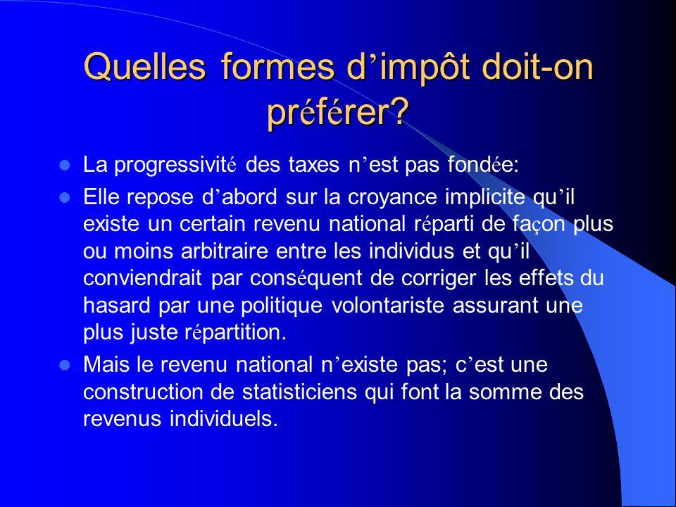 Quelles formes d impôt doit-on pr é f é rer? Il est avanc é que l impôt progressif est juste parce qu il permettrait d assurer