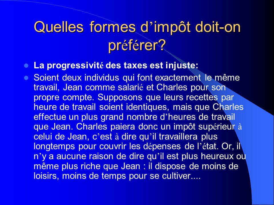 Quelles formes d impôt doit-on pr é f é rer? Quels sont les arguments avanc é s par les hommes de l é tat en faveur de ce type d impôt? Tout d abord,