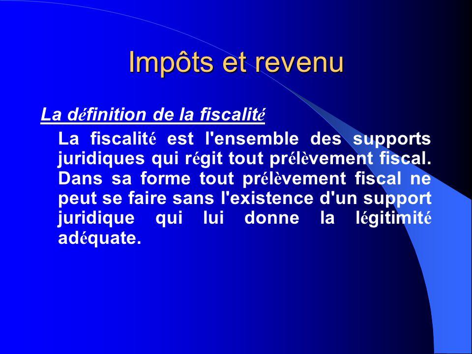 Impôts et revenu La d é finition de la fiscalit é La fiscalit é est l ensemble des supports juridiques qui r é git tout pr é l è vement fiscal.
