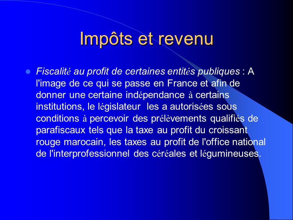 Impôts et revenu Fiscalit é du budget g é n é ral de l' É tat : Ce volet concerne les grandes cat é gories d'impôts telles que l'impôt sur les soci é