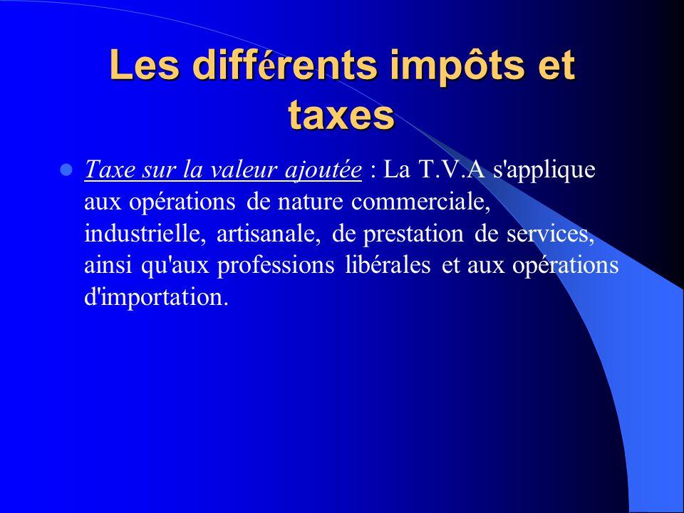 Les diff é rents impôts et taxes Taxe sur la valeur ajoutée : La T.V.A s applique aux opérations de nature commerciale, industrielle, artisanale, de prestation de services, ainsi qu aux professions libérales et aux opérations d importation.