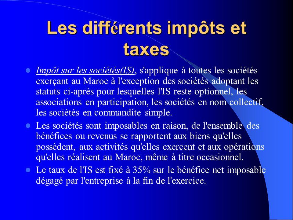Les diff é rents impôts et taxes Taxe sur la valeur ajoutée : La T.V.A s'applique aux opérations de nature commerciale, industrielle, artisanale, de p
