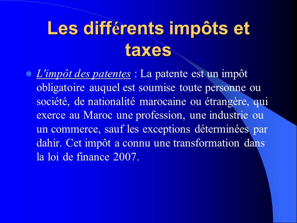 Les diff é rents impôts et taxes L impôt des patentes : La patente est un impôt obligatoire auquel est soumise toute personne ou société, de nationalité marocaine ou étrangère, qui exerce au Maroc une profession, une industrie ou un commerce, sauf les exceptions déterminées par dahir.