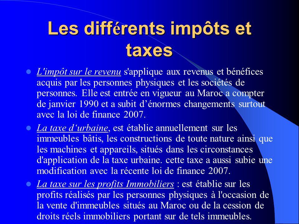 Les diff é rents impôts et taxes L impôt sur le revenu s applique aux revenus et bénéfices acquis par les personnes physiques et les sociétés de personnes.