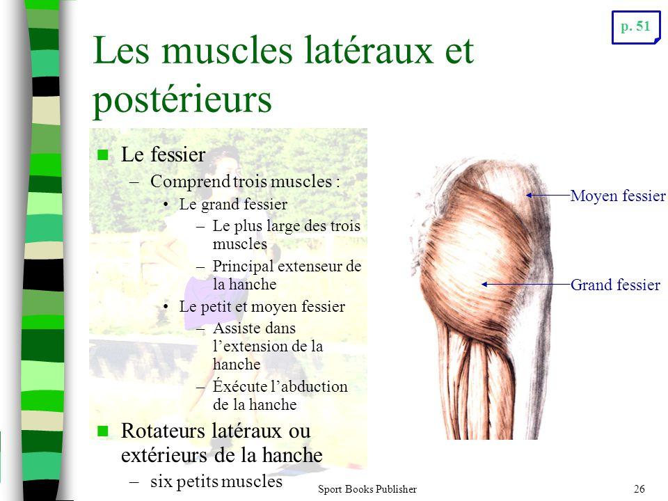 Sport Books Publisher26 Les muscles latéraux et postérieurs Le fessier –Comprend trois muscles : Le grand fessier –Le plus large des trois muscles –Pr