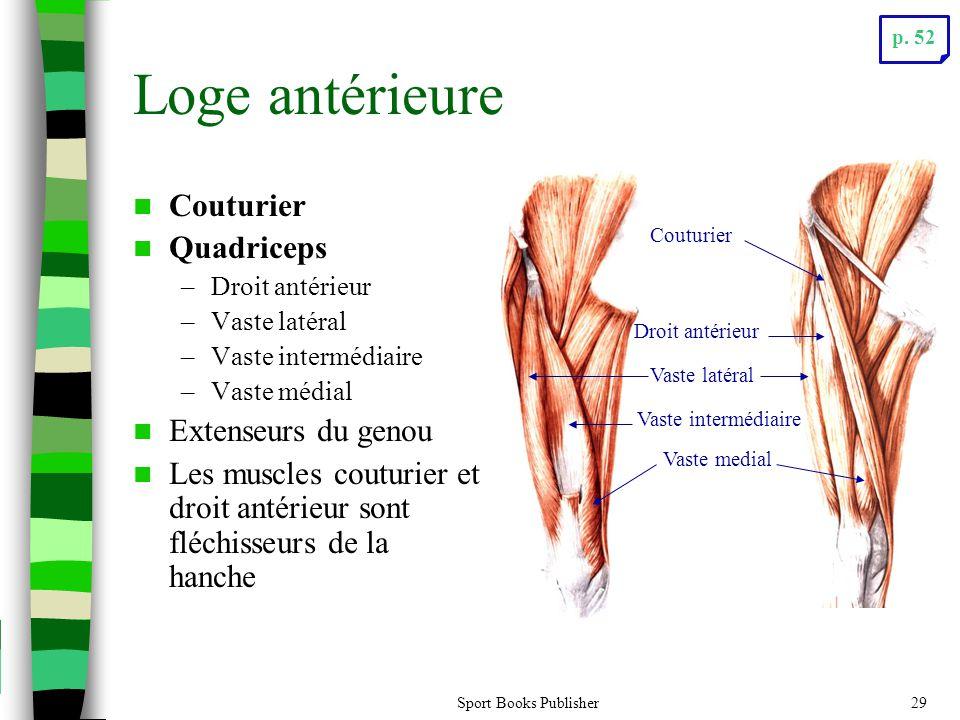 Sport Books Publisher29 Loge antérieure Couturier Quadriceps –Droit antérieur –Vaste latéral –Vaste intermédiaire –Vaste médial Extenseurs du genou Le