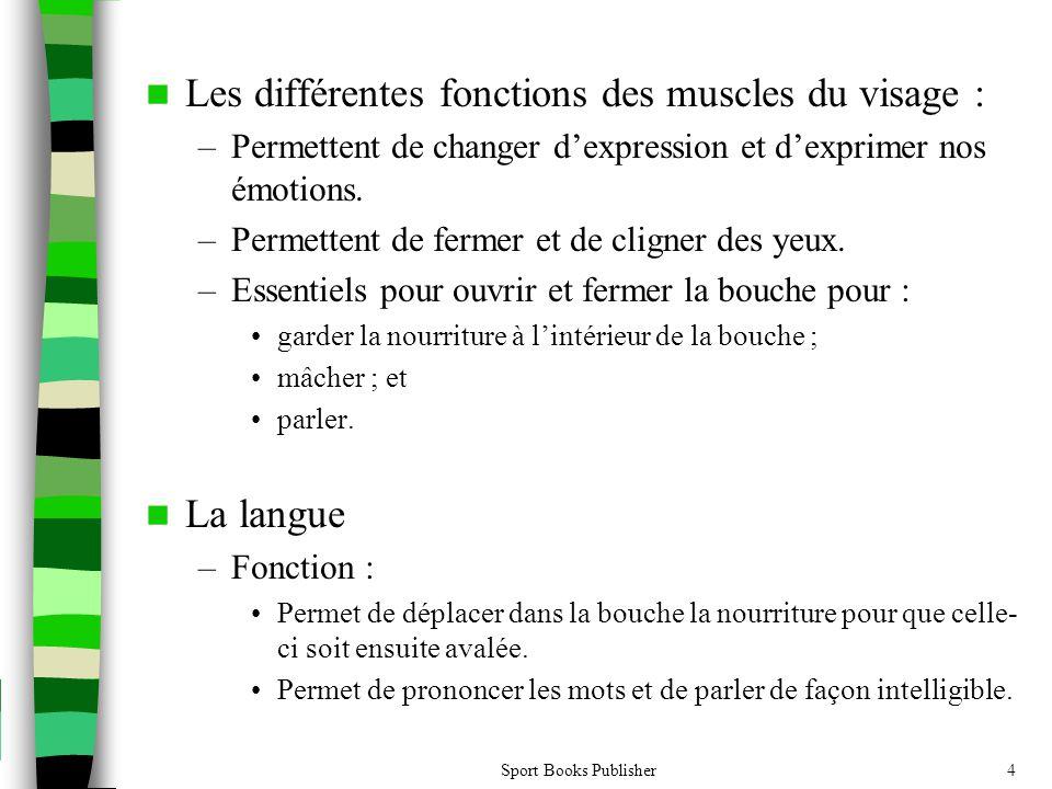 Sport Books Publisher4 Les différentes fonctions des muscles du visage : –Permettent de changer dexpression et dexprimer nos émotions. –Permettent de