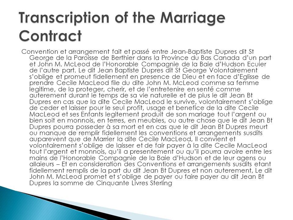 Convention et arrangement fait et passé entre Jean-Baptiste Dupres dit St George de la Paroisse de Berthier dans la Province du Bas Canada dun part et John M.
