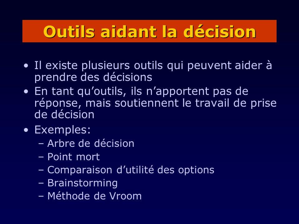 Il existe plusieurs outils qui peuvent aider à prendre des décisions En tant quoutils, ils napportent pas de réponse, mais soutiennent le travail de p