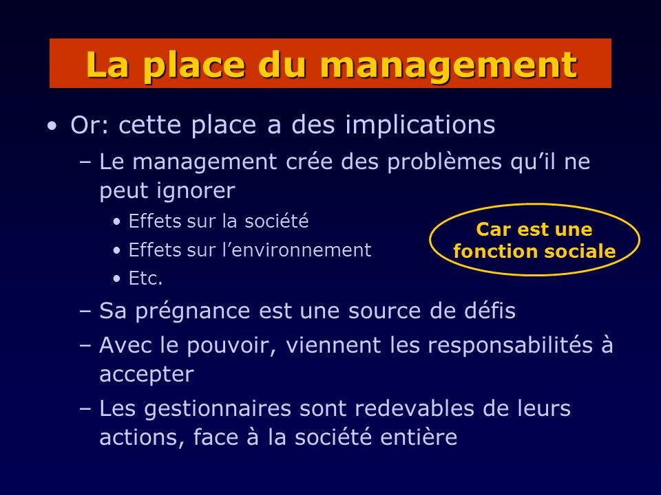 Or: c ette place a des implications –Le management crée des problèmes quil ne peut ignorer Effets sur la société Effets sur lenvironnement Etc. –Sa pr