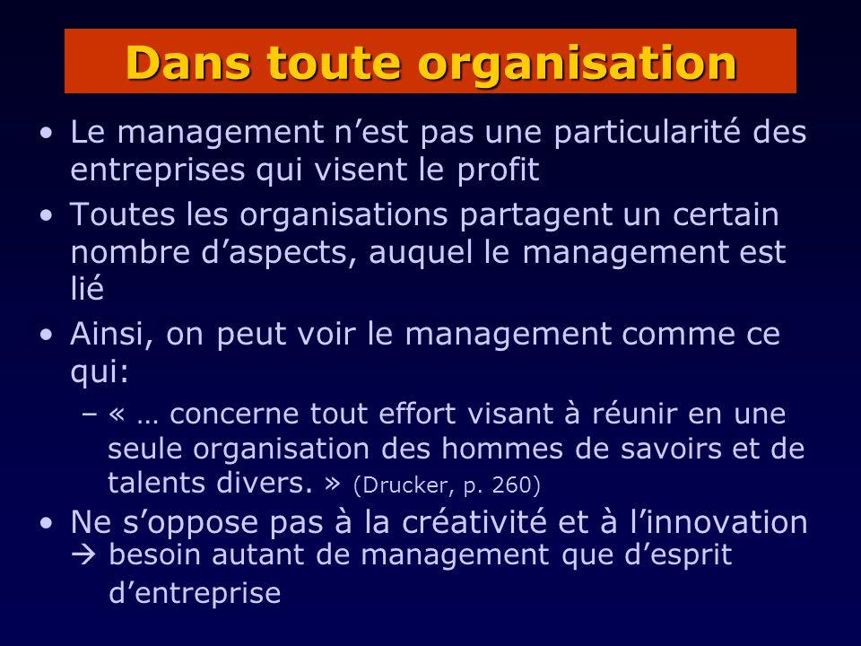 Le management nest pas une particularité des entreprises qui visent le profit Toutes les organisations partagent un certain nombre daspects, auquel le