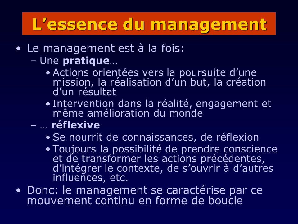 Le management est à la fois: –Une pratique… Actions orientées vers la poursuite dune mission, la réalisation dun but, la création dun résultat Interve