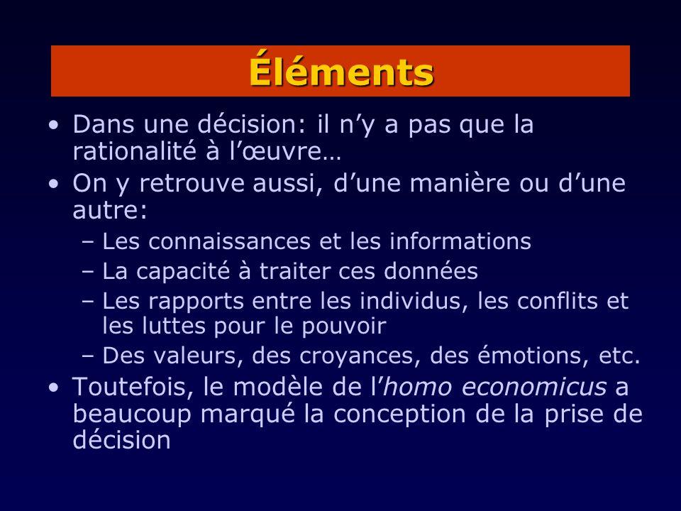 Dans une décision: il ny a pas que la rationalité à lœuvre… On y retrouve aussi, dune manière ou dune autre: –Les connaissances et les informations –L