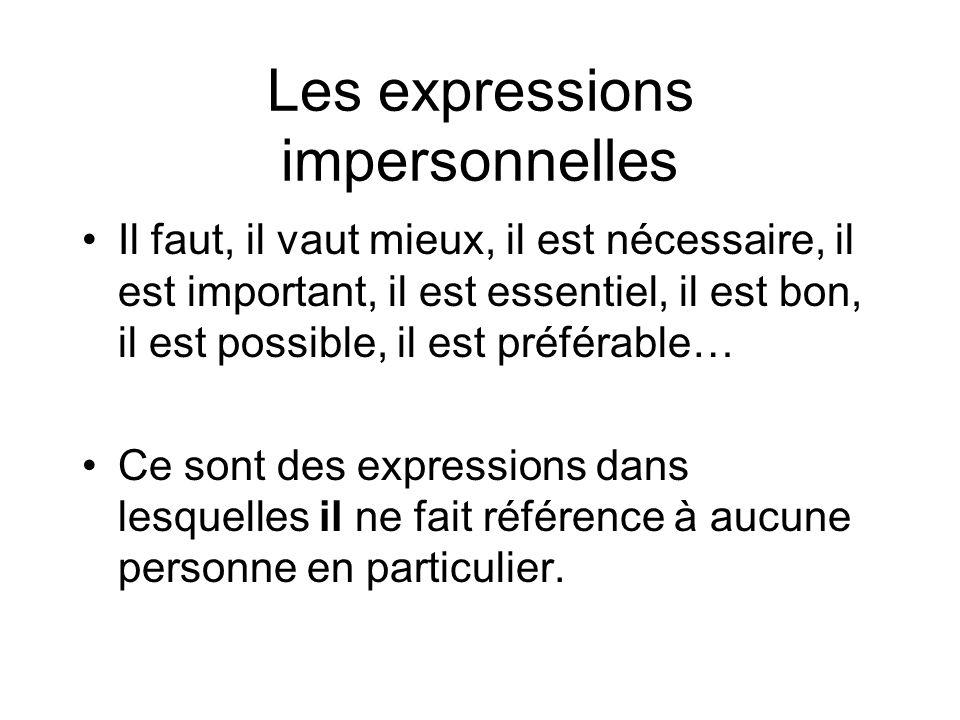 Les expressions impersonnelles On peut les utiliser avec linfinitif pour exprimer un jugement, une nécessité, une obligation générale.