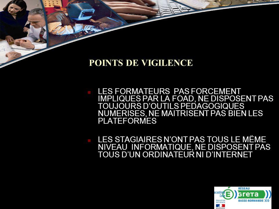 POINTS DE VIGILENCE LES FORMATEURS PAS FORCEMENT IMPLIQUES PAR LA FOAD, NE DISPOSENT PAS TOUJOURS DOUTILS PEDAGOGIQUES NUMERISES, NE MAITRISENT PAS BI