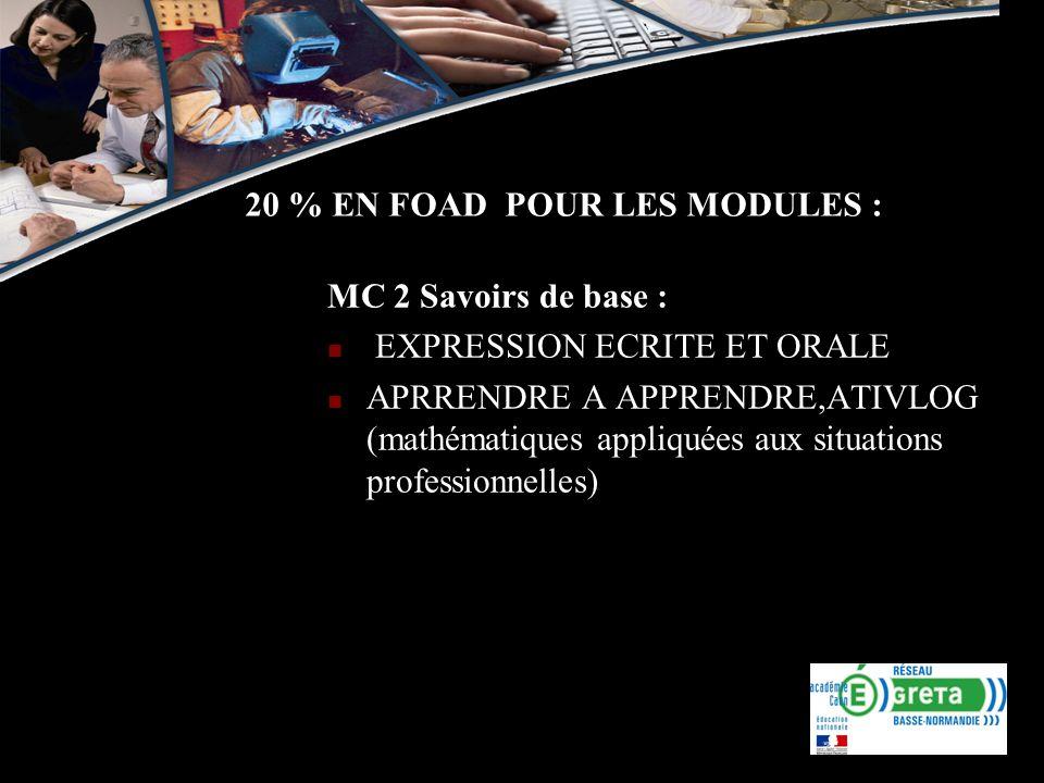 20 % EN FOAD POUR LES MODULES : MC 2 Savoirs de base : EXPRESSION ECRITE ET ORALE APRRENDRE A APPRENDRE,ATIVLOG (mathématiques appliquées aux situatio