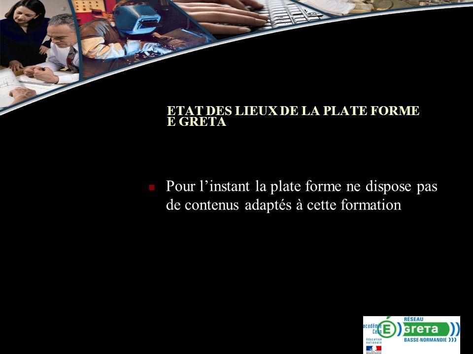 ETAT DES LIEUX DE LA PLATE FORME E GRETA Pour linstant la plate forme ne dispose pas de contenus adaptés à cette formation
