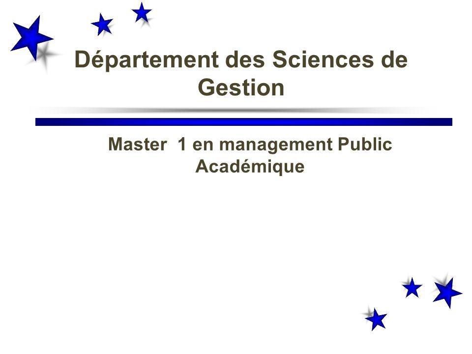 Master 1 en management Public Académique Département des Sciences de Gestion