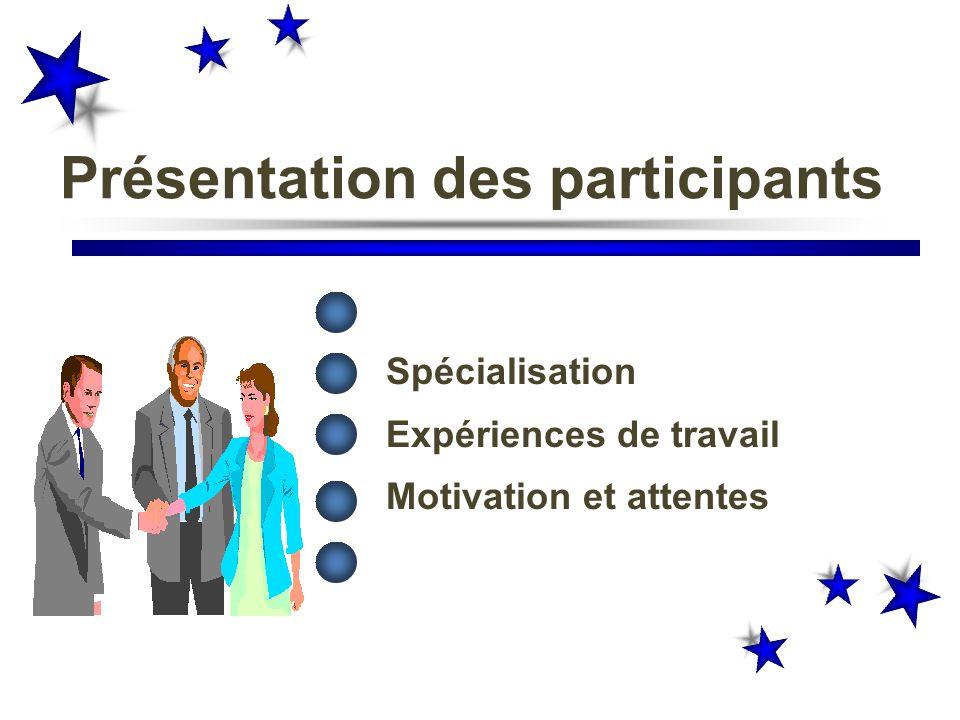 Présentation des participants Nom, prénom Spécialisation Expériences de travail Motivation et attentes